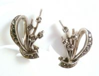 Vintage Sterling Silver And Marcasite Clip On Earrings.